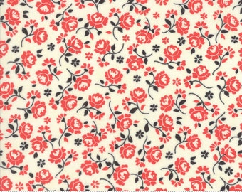 Chestnut Street - Flower Medley in Milk and Pomegranate: sku 20274-24 cotton quilting fabric by Fig Tree and Co. for Moda Fabrics - 1 yard