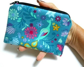 Little Zipper pouch Coin Purse Case Padded Eco Friendly NEW Bird Teal Cuzco Sanctuary LIMITED Item