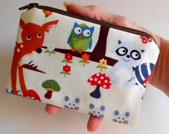 Forest Animals Little Zipper Pouch Coin purse ECO Friendly Padded NEW