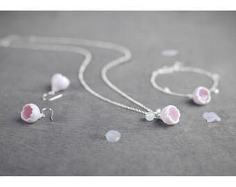 Sakura jewelry set 3 pieces - earrings bracelet necklace, Ceramic jewelry set Cherry blossom necklace Rose quartz Birthday gift-boohua