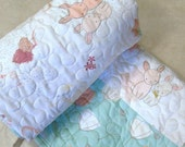 SALE Baby Girl Quilt Littlest  Bunny Bunnies Spring  Mint Green Newborn Nursery Bedding Nature