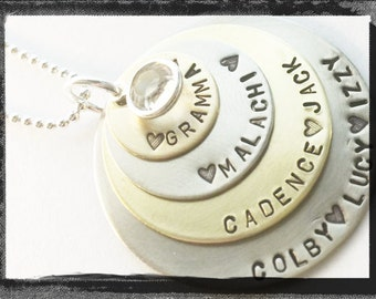Personalized Jewelry -Hand Stamped Necklace - Mixed Metals Family Necklace