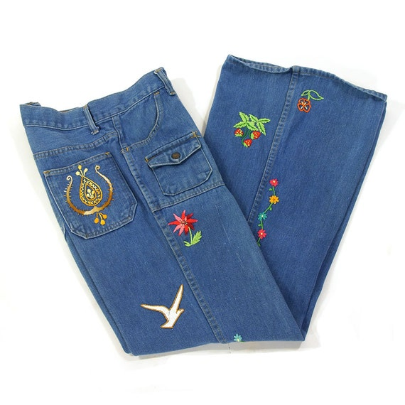 Embroidered bellbottom jeans vintage s customized one of