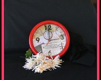SWEETHEART SALE Photo Clock, Travelers Clock, Explorers Clock, Christmas Gift, Gift For Him, Office Decor