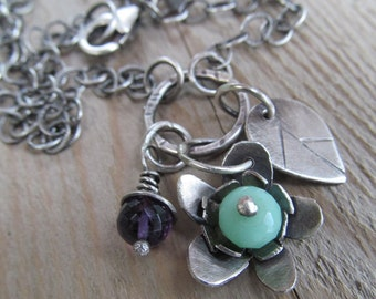 Gemstone Flower Necklace Silver Flower Charm Cluster Aqua Gemstone Pendant Pastel Green Flower charm Necklace Teen Gift Boho Silver Jewelry