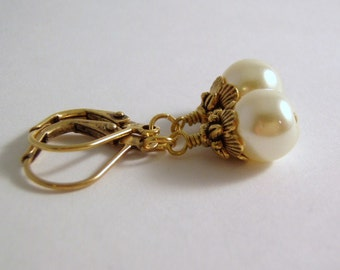 Antique White Pearl Earrings Antique Gold Lever Back Ear Wire 8 mm Glass Pearl Dangle Gift Boxed