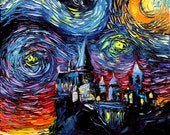 Harry Potter Art - Hogwarts Castle Starry Night print van Gogh Never Saw Hogwarts by Aja 8x8, 10x10, 12x12, 20x20, and 24x24 inches choose