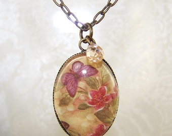 Vintage Butterfly and Flower Pendant Necklace w crystal Briolette