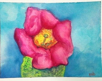 Succulent Pink Prickly Pear Cactus Blossom Southwest Desert Contemporary Home Decor Original Watercolor Painting by Candace Byington