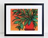 Green Plant Print - Botan...