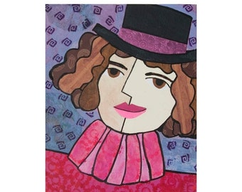 50% OFF SALE - Portrait of a Woman with Hat , Woman Art, HAT art - Pink and Purple, Mixed Media Collage Art Whimsical Art by Claudine Intner