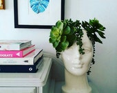 Handmade Ceramic Female Head Vase. Perfect for home or retail space. Use as Unique Vase or Display Hats. Vintage mold with modern color.