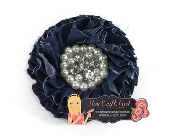 Wholesale DENIM PEARL RHINESTONE flower for headbands, cowgirl farm themed accessories and home decor and other craft projects