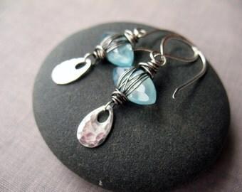 Aqua Chalcedony Earrings, Wire Wrapped, Gift for Her, Boho Earrings Women, Sterling Silver, Brenda McGowan, Blue Chalcedony, Unique