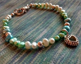 Pearl Bracelet in Blues and Green - Free Shipping