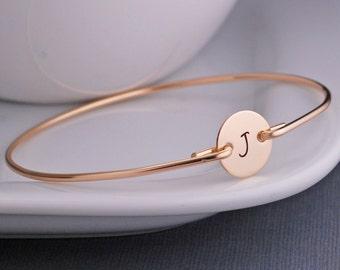 Personalized Bracelet, Initial Jewelry, Bangle Bracelet, Gold Initial Bracelet, Bangle Bracelet