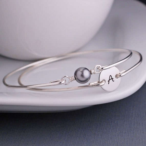 Initial Monogram Bracelet,  Pearl Bracelet Set, Initial Charm Sterling Silver Bangle Bracelet, Personalized Bracelet, Modern Bangle Bracelet