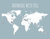 Valentine's Day Gift for Him, DIY Travel Map, Husband Gift, Boyfriend Gift, Anywhere With You World Map Decor, Wanderlust Valentine Gift