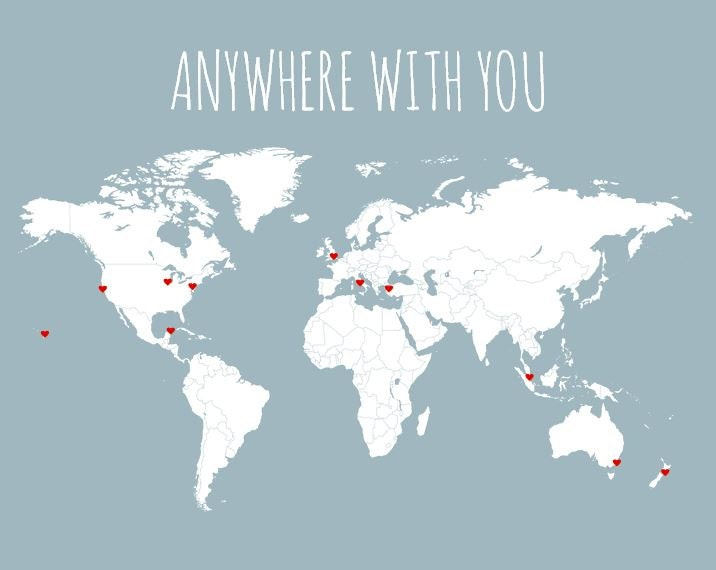 Husband Gift World Map Travel Map DIY Gifts for Him Anywhere – World Map Gifts For Travelers