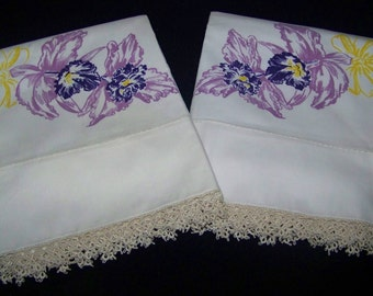Vintage Unusual NOS Cotton Pillowcases Orchid Print and Tatted Edge Crisp