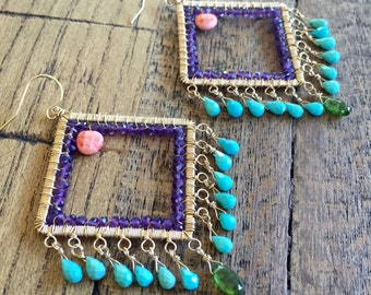 SALE- Originally 250.00. Wire wrapped gemstone statement earrings.  Amethyst, salmon coral, Sleeping beauty turquoise and chrome diopside.
