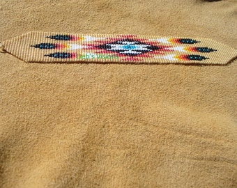 Native American Style Square stitched Six Feather Bracelet in Carmel and Fire colors
