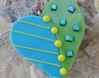 Fused Glass Heart Suncatcher, Blue and Green Glass Heart, Glass Valentine Heart Suncatcher, Stained Glass, Valentine Suncatcher