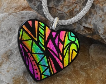 Zentangle Pendant, Valentine Jewelry, Pink and Gold Dichroic Heart, Dichroic Fused Glass Hand Etched Pendant, Fused Glass Heart Pendant