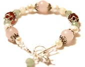 Juno Fertility Bracelet in Sterling Silver- with Rose Quartz, Moonstone, Carnelian, Green Aventurine, Pearls, Crystals