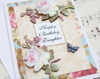 Daughter Birthday Card, 3D Birthday Greeting Card, Blank Card, Daughter in law gift, Handmade Card, Floral Card, Gift for Her
