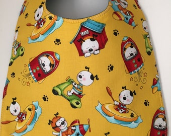 Toddler Bib:  Puppy Dogs At Play on Yellow