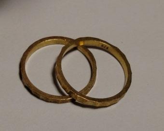 Lot Set Vintage Hammered 925 Solid Sterling Silver Gold Vermeil Stacking Band Rings Skinny Size 6