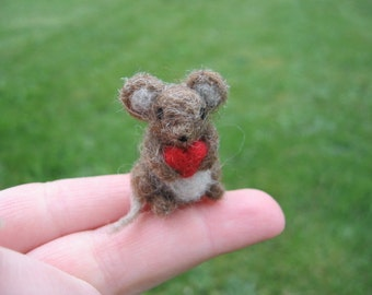 Needle Felted Brown Mouse With Heart Miniature Tiny Figurine Valentines Day