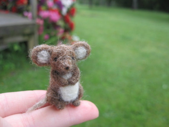 Needle Felted Miniature Brown Mouse Tiny Figurine