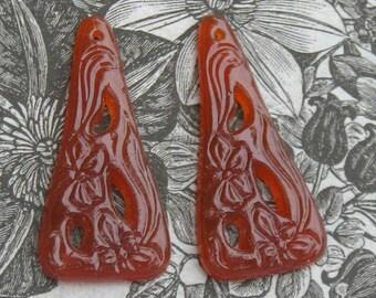 Pretty vintage carnelian glass drops for earrings..