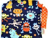 Small 9 x 9 Wet bag / Snack / Swim / Diapers / Monster Mash Fabric / SEALED SEAMS and Snap Strap