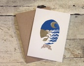 Cancer the Crab zodiac letterpress linocut card