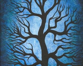 Tree painting, Original fine art, Blue Oak Tree, Original painting, acrylic painting by Jordanka Yaretz