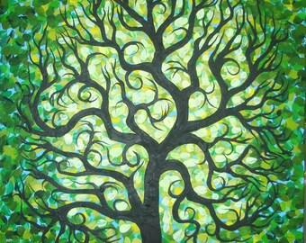 Abstract Green TREE, Original art, Textured, Original Acrylic painting by  Jordanka Yaretz