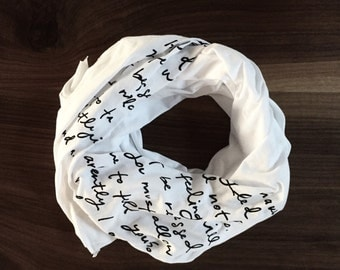 SUMMER SALE - Mr. Darcy proposal scarf - white with black ink - Jane Austen