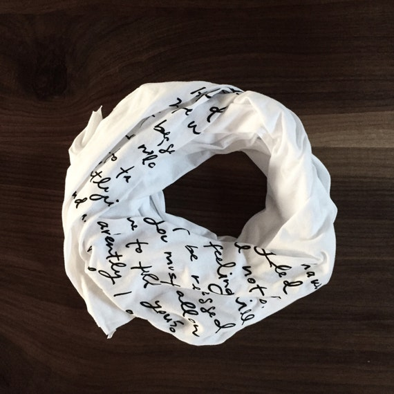 Mr. Darcy proposal scarf - white with black ink - Jane Austen