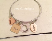Mixed metal charm bangle bracelet-custom charm bracelet
