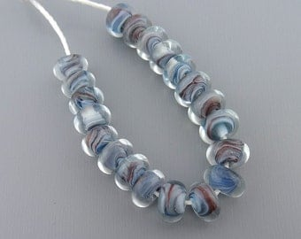 Blue/brown Encased Petite Spacers - SRA handmade glass lampwork beads Lori&Kim