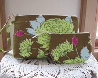 Chrysanthemum in Olive  Smart phone Case Gadget Pouch Clutch Wristlet Zipper Gadget Pouch Bag  Made in USA Set
