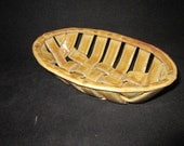 SALE woven clay, oval bowl in pusswillow, stoneware pottery
