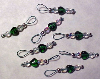 Emerald Green Heart Stitch Markers on Forest Green Wire - US 5 - Item No. 923