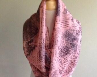 "Infinity Scarf-Black & Pink Abstract-6"" by 56""-Handmade USA-Tween Ladies"