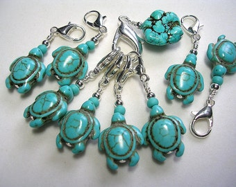 Stitch Markers Crochet Accessories Turquoise Turtle Zipper Pulls Fan Pull Purse Clip Swarovski Dangle Stitch Markers Pretty Howlite Turtles