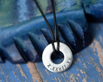 Roman Numeral / Date -  Metal Stamped Necklace