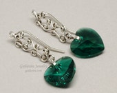 Emerald Green Swarovski Crystal Heart and Sterling Silver Earrings